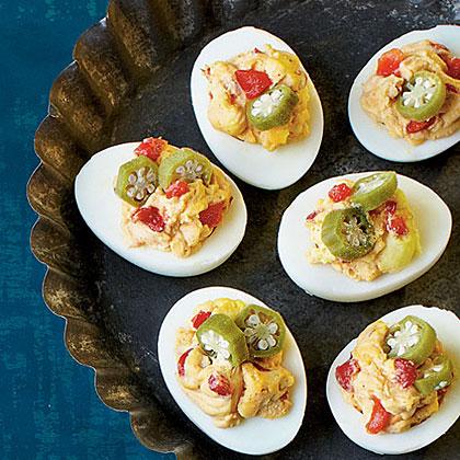Smoky Pimiento Cheese Deviled Eggs