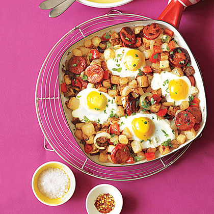 Potato, Pepper and Chorizo Hash with Fried Eggs Recipe