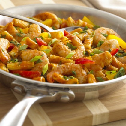 Birds Eye® Cajun Seasoned Shrimp with Saucy Vegetable Rigatoni Recipe