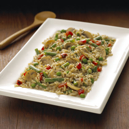 Birds Eye® Mushroom Risotto with Roasted Red Peppers & Peas Recipe