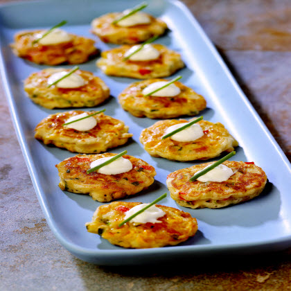 Birds Eye® Southwestern Mini Corn Cake Appetizers  RecipeServe each corn cake with a small dollop of sour cream and garnish with chives.