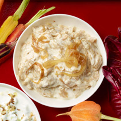 Caramelized Onion Dip RecipeOnion dip gets a redo in this updated version of Carmelized Onion Dip. Onions are slow-cooked to bring out their natural sweet flavor, and Greek yogurt is added in place of sour cream for a healthier twist.