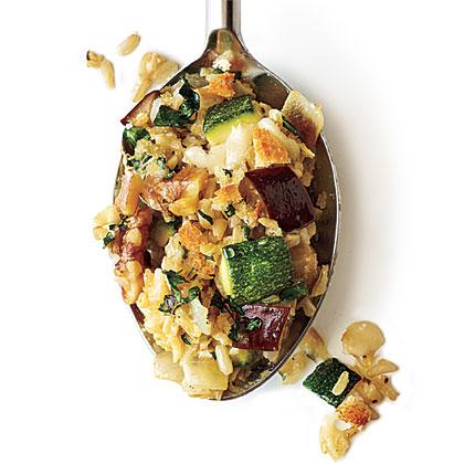 Cheesy Brown Rice Gratin with Zucchini and Eggplant Recipe