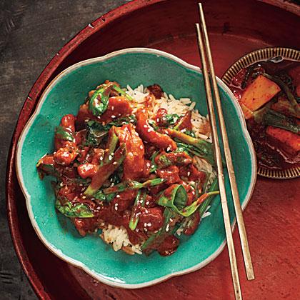 Dak Bokkeum with Spinach (Korean Stewed Chicken with Spinach)Recipe