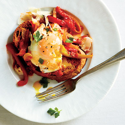 Eggs Poached in Tomato Sauce with Onions and Peppers