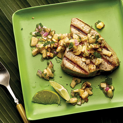 Grilled Seafood with Banana-Lime Salsa