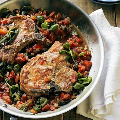 Pork Chops with Golden Purslane and Fresh Tomato Sauce Recipe
