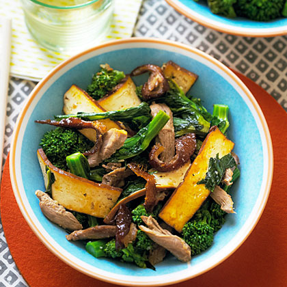 Pressed Tofu, Roast Duck, and Broccolini Stir-Fry