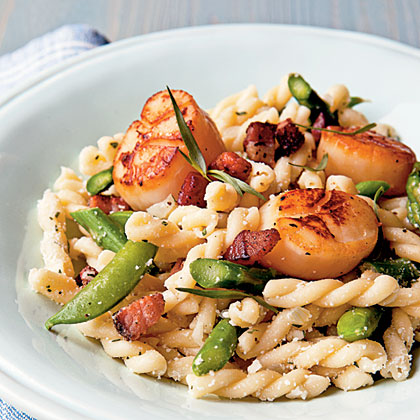 Seared Scallop Gemelli with Asparagus, Snap Peas, and Pecorino
