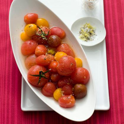 <p>Vodka-Spiked Tomatoes with Lemon Salt</p>