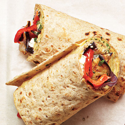<p>Grilled Veggie and Hummus Wraps</p>