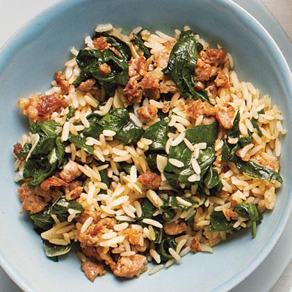 Sausage-Spinach Rice Bowl Recipe | MyRecipes.com