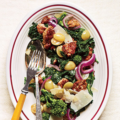 Sauteed Sausage and Grapes with Broccoli Rabe