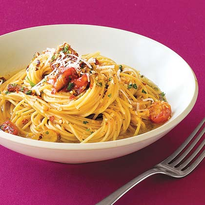 Capellini with Bacon and Bread Crumbs