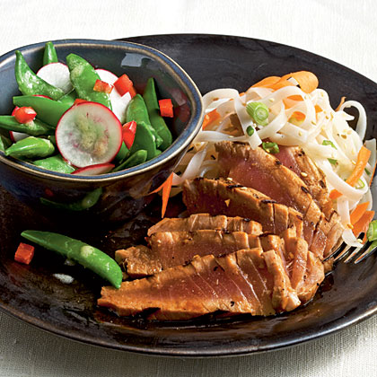 This Asian-inspired meal is an impressive date-night dinner, and it can easily be doubled to feed a family.Watch the VideoGrilled Lime-Soy Tuna with Noodles Recipe