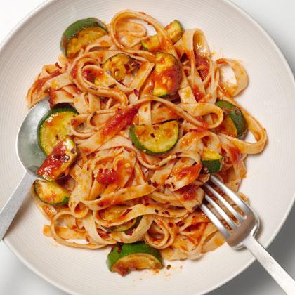 <p>Fettuccine with Spicy Zucchini-Tomato Sauce</p>