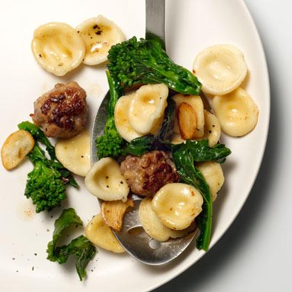 Orecchiette with Sausage Meatballs, Broccoli Rabe, and Garlic