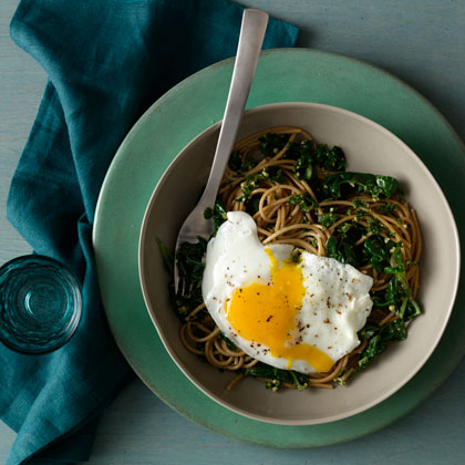 <p>Spaghetti With Wilted Greens and Walnut-Parsley Pesto</p>