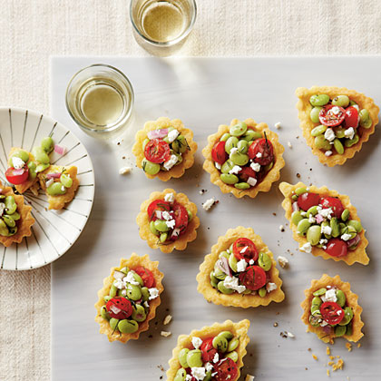 Cornbread Tartlets with Tomato-Lima Bean Relish