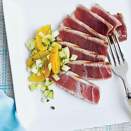 Grilled Tuna with Fennel-Orange Relish