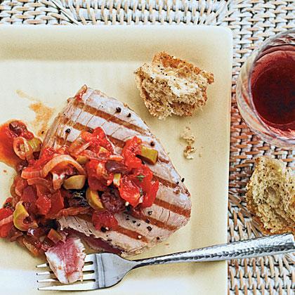 Grilled Tuna with Mediterranean Sauce