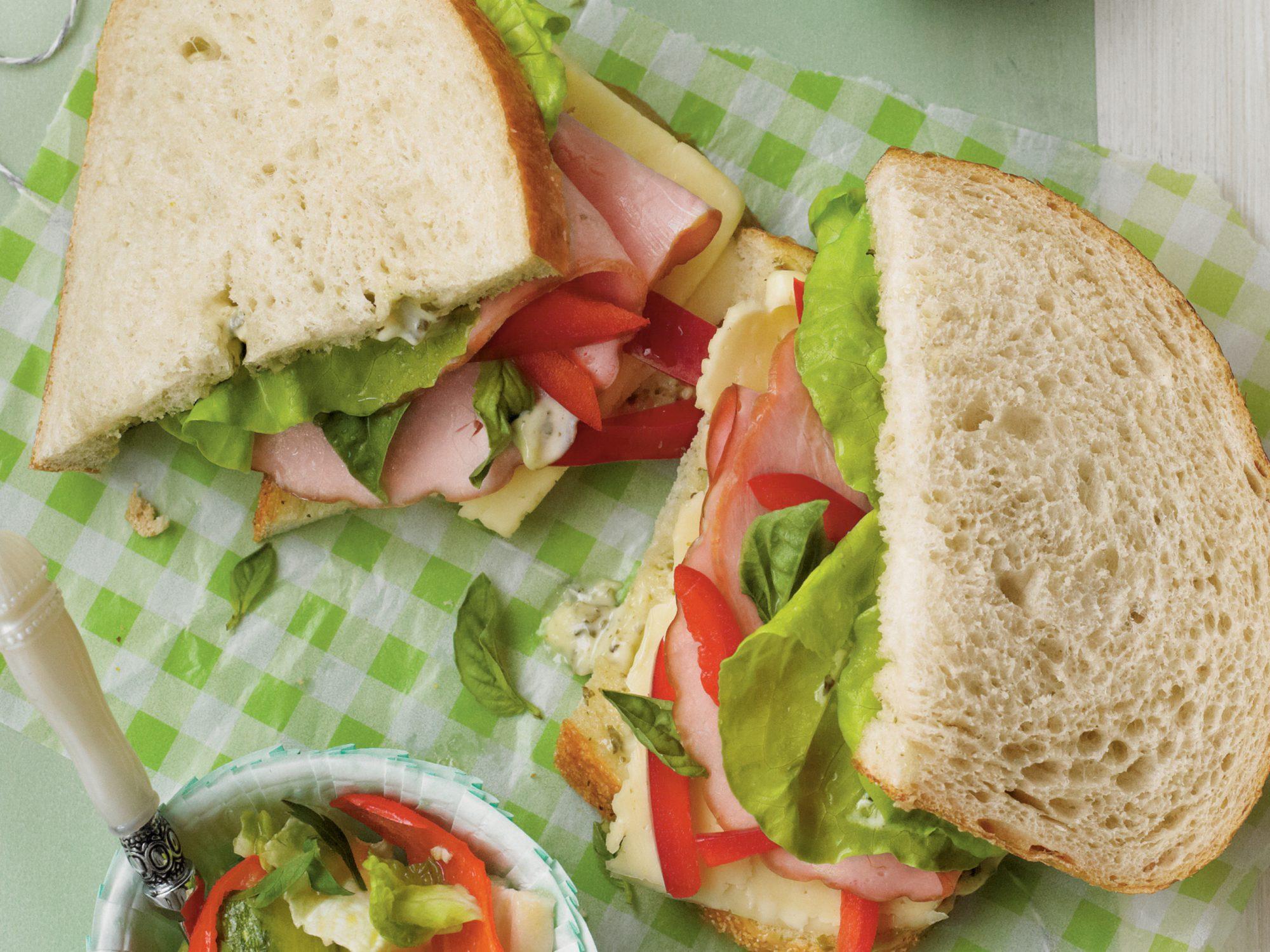 Ham-and-Fontina Sourdough Sandwiches