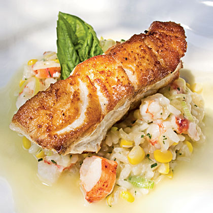 Roasted Grouper with Seafood Risotto and Champagne-Citrus Beurre BlancRecipe