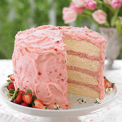 Strawberry Mousse Cake RecipeStrawberry-sweetened frosting surrounds the outside of the cake while creamy strawberry mousse divides the layers. This beautiful cake is ideal for brunch, baby showers, or any springtime celebration.