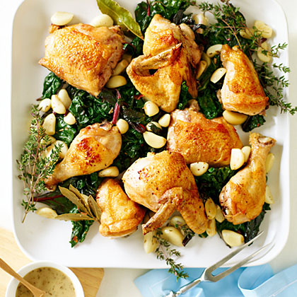 Chicken with 40 Cloves of Garlic and Spicy Greens Recipe