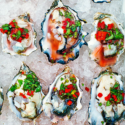 Oysters On The Half Shell Amp Chile Cilantro Amp Meyer Lemon Salsa Recipe Myrecipes