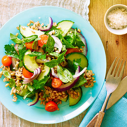 Rachel's Farro Salad RecipeNutty-tasting farro adds a boost of protein and whole grains in your summer salads.