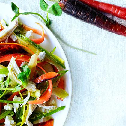 Rainbow Carrot, Pea Shoot, and Chicken Salad