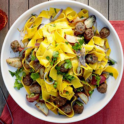 Roasted Vegetable and Mini Meatball PappardelleRecipe