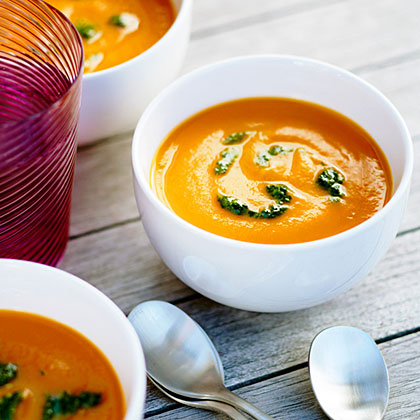 Velvety Carrot Soup with Carrot Top PestoRecipe