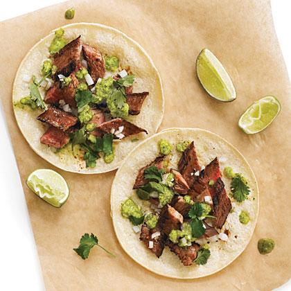 Suadero Tacos with Serrano-Cilantro Salsa