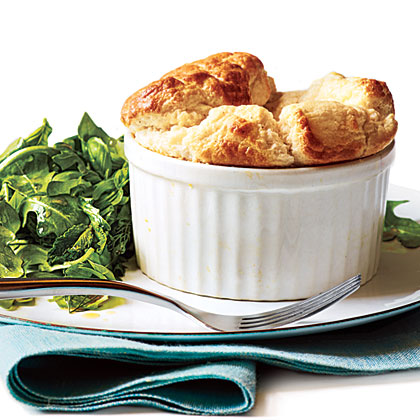 Cheese Souffles with Herb Salad