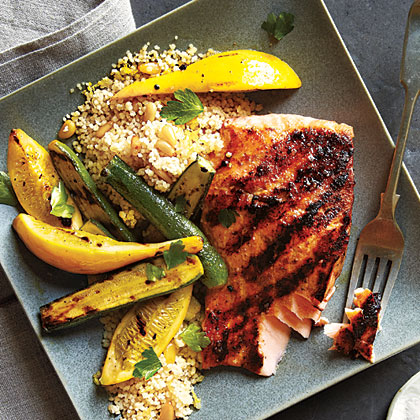 Grilled Salmon and Brown Butter CouscousRecipe
