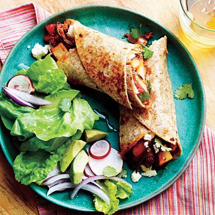 Potato, Chorizo, and Green Chile Burritos