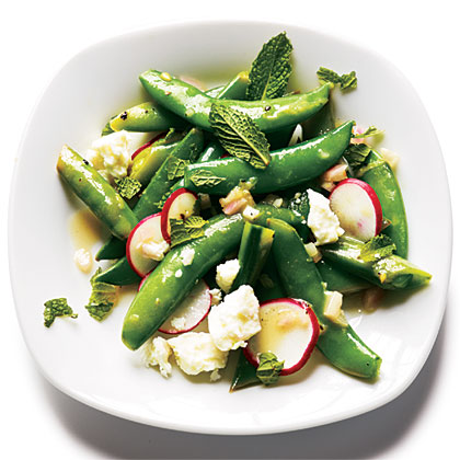 Radish and Feta Snap Peas