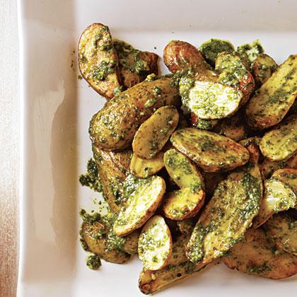Roasted Potatoes with Arugula-Pistachio Pesto
