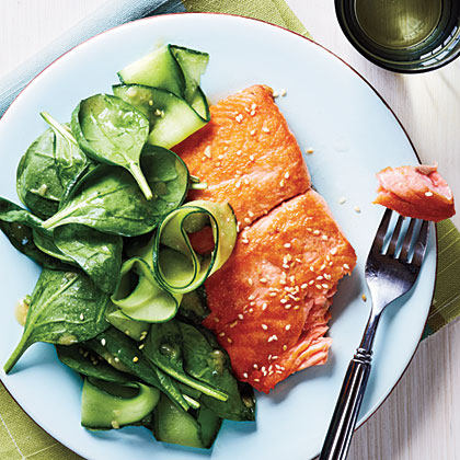Salmon with Spinach Salad and Miso VinaigretteRecipe
