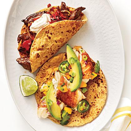 Steak and Charred Vegetable TacosRecipe