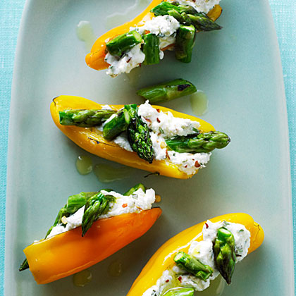 Mini Peppers Filled with Goat Cheese and Asparagus RecipeFor easy entertaining, set out this elegant, quick appetizer created by Sunset reader Priti Malhotra of Los Gatos, California. Serve it with a crisp wine like Sauvignon Blanc.