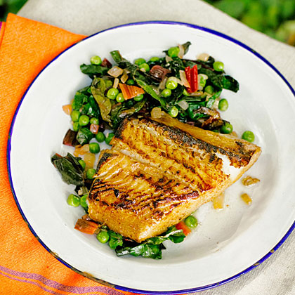 Sake and Birch Syrup-Roasted Sablefish with Fresh Peas and Chard Recipe