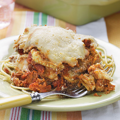 Eggplant Parmesan RecipeThis is a down-home dish that's great to enjoy with family and friends no matter what the occasion. Serve it atop spaghetti noodles.