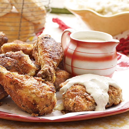 Fried Chicken and Milk Gravy RecipeA Southern staple, this fried chicken recipe from Gooseberry Patch is even better smothered in the creamy milk gravy.
