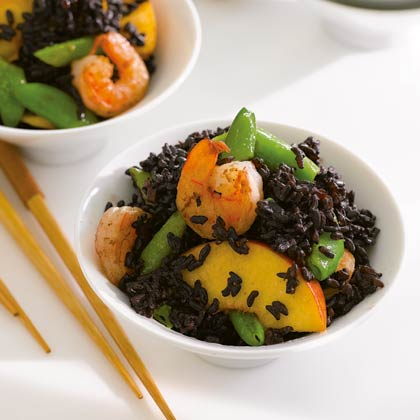 <p>Black Forbidden Rice with Shrimp, Peaches, and Snap Peas</p>