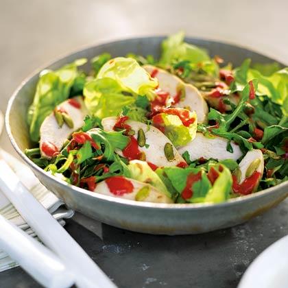 Chicken, Bibb, aand Arugula Salad with Raspberry Vinaigrette
