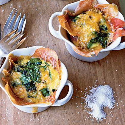 Individual Prosciutto-and-Spinach Pies