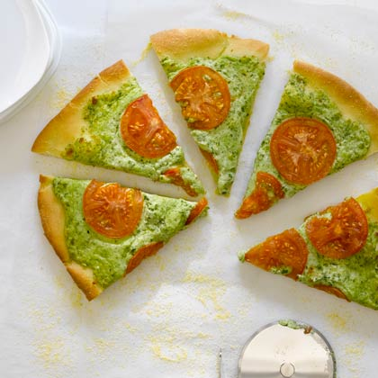 <p>Arugula Pesto, Ricotta, and Smoked Mozzarella Pizza</p>